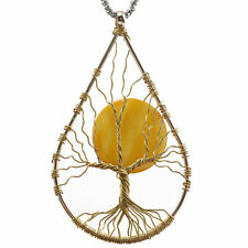 copper Wire Wrap Tree of Life  Moon Pendant Handmade Jewelry Necklace