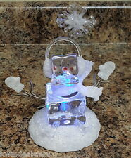 Cracker Barrel Retired Collectible Christmas Frosted Glass Snowman On Ice Decor