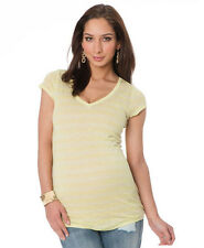 NWT $50 a Pea in the Pod Maternity Striped Linen Yellow V-neck Shirts Tee Tops L