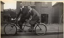 VINTAGE POSTCARD GENTS TANDEM BICYCLE PLUS FOURS FASHION 1920's RP