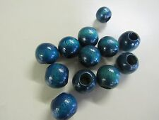 "100 ROUND BLUE  7/8"" WOOD WOODEN   BEADS JEWELRY MAKING MACRAME  CRAFTS"