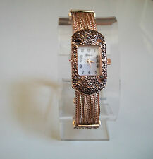 Vintage Look Marcasite Antique Lady Special Occasion Rose Gold Finish Watch