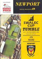 NEWPORT v TUMBLE 16 Dec 1995 RUGBY PROGRAMME WRU CUP 4th ROUND