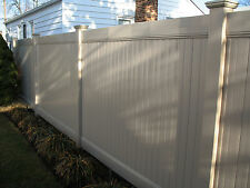 BEIGE TAN   16 FT 6' x 8' Solid Privacy PVC Vinyl Fence With Posts & Caps
