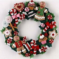 "Bucilla Felt Applique Home Decor Kit 15"" ~ COOKIES & CANDY WREATH #86264"