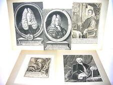 5 große Kupferstiche Personen 18. Jahrhundert