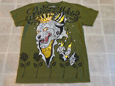 SHIROI NEKO lion/tiger claw T-SHIRT MED gold foil crown street gang ed hardy art