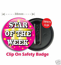 10 x Star of the Week School Teacher Reward Safety Clip Badges 38mm PINK
