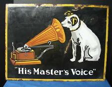 "Super Rare RCA VICTOR ""HIS MASTER'S VOICE"" Double-Sided Porcelain Sign"