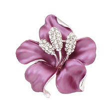 Purple with White Rhinestones Diamante Elegant Corsage Flower Brooch Pin BR166