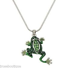 beach  tcu TOAD GREEN RHINESTONE FROG REPTILE PENDANT NECKLACE LILLY PAD