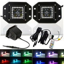 2x 4D 16W CREE Flush Mount Led Work Light Bar with RGB Angel Eyes Halo Ring ATV