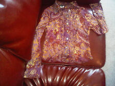 Bebe blouse see through purple red flowers shirt top silk purple Size XS