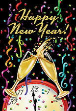 "Happy New Year House Flag Champagne Confett Clock 28"" x 40"" Briarwood Lane"