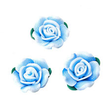 20x Sky Blue FIMO Polymer Clay Green Leaf Rose Flower Bead Fit Jewelry Making L