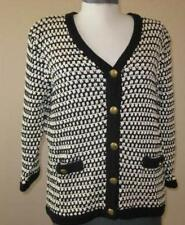 CAbi womens Large Coco cardigan black white #868 Classic cotton classy sweater