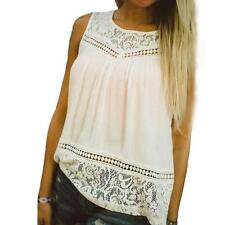 NEW Casual Women Summer Lace Splice Chiffon Vest Top Sleeveless Blouse Tank Tops