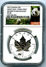 2017 $5 CANADA 1OZ SILVER MAPLE LEAF NGC PF70 PANDA PRIVY REVERSE PROOF POP=38