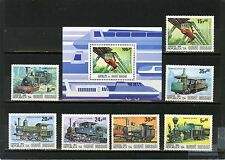 GUINEA 1984 Sc#619-625A LOCOMOTIVES/TRAINS SET OF 7 STAMPS & S/S MNH