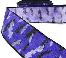 "5 Yds Halloween Purple Black Bats Wired Ribbon 2 1/2""W mys"