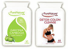90 GARCINIA CAMBOGIA 1500mg Daily & 60 DETOX COLON CLEANSE Diet Slimming Pills