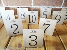Kraft Brown Table Numbers 1 to 10 Tent Style Wedding Birthday Party  Decorations