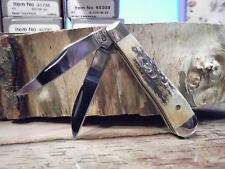 "CASE XX 2 3/8"" CLOSED CA-5968 GENUINE STAG HANDLE CLIP WHARNCLIFFE BLADE TRAPPER"