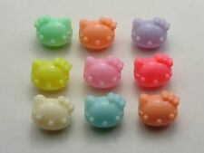 50 Mixed Pastel Color Acrylic Cute Cat Beads Charms 14X12mm