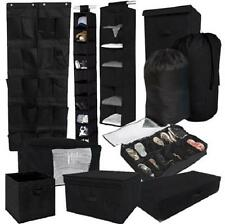 10 Piece Durable Black Storage Set Closet College Dorm Clothing Shoes Laundry