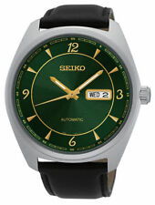 NEW Seiko SNKN69 Automatic Stainless Steel Green Dial Leather Strap Men's Watch