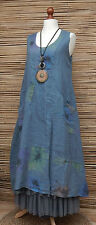 LAGENLOOK LINEN AMAZING 2 POCKETS FLORAL A-LINE DRESS*DUSTY BLUE* BUST UP TO 46""