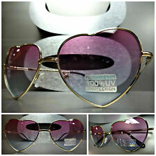 VINTAGE 80's RETRO Style HEART SHAPED SUN GLASSES Gold Frame - Pink & Blue Lens