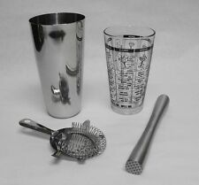 4 pc. Pro Bartender COCKTAIL SHAKER Drink Mixing & Stainless Muddler Bar Kit
