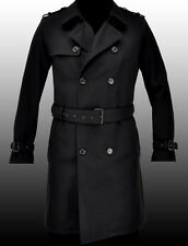 NEW HUGO BOSS Military Black Long Virgin Wool Trench Coat Jacket Veste 40R 50 M