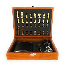 Highy Quality Gift Set 8oz Leather Hip Flask With Chess and Bottle Opener