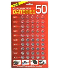 50 ASSORTED BUTTON CELL WATCH BATTERIES AG 1 / 3 / 4 / 10 / 12 / 13 SEALED NEW