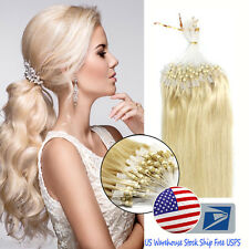18''Easy Loop Micro Ring Beads Brazilian Remy Human Hair Extensions Light Blonde