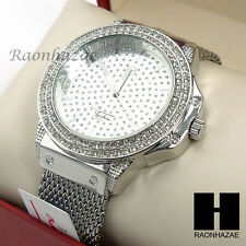 Hip Hop Techno Pave Iced Out Luxury Silver Finished Rapper Mesh Band Watch GW222