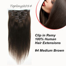Clip In Real Remy Human Hair Extension Medium Brown 7pcs15 Inch Factory Price