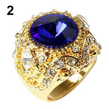 Men's Vintage Luxury Big Resin Crown Gold Plated Alloy Ring Jewelry Size 7-10