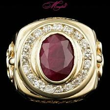 $33800 CERTIFIED 14K YELLOW GOLD 7CT UNTREATED RUBY 2.10CT DIAMOND MENS RING