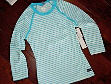 SPERRY Top rash guard Shirt SMALL Rashguard  aqua blue white stripe