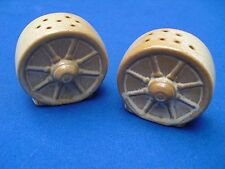 FRANKOMA WAGON WHEEL~ Tan Salt & Pepper Shakers~ADA CLAY~FREE SHIP