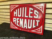 Rare Plaque émaillée Garage Huile Renault Double Face Potence ! Top état ! Bidon