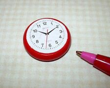 Miniature Kitchen Wall Clock, Red Wood, Paper Face: DOLLHOUSE Miniatures 1/12