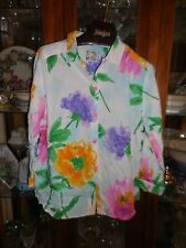Jams World FAB XL New NWT SKY FLOWER Top Shirt 3/4 Sleeve White Floral OOP