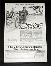 1925 OLD MAGAZINE PRINT AD, HARLEY-DAVIDSON MOTORCYCLE, 70-80 SWIFT MILES, MPG!