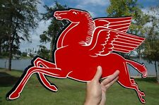 OLD STYLE MOBIL GAS OIL PEGASUS HORSE DIECUT THICK STEEL SIGN LEFT MADE IN USA!