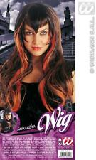 Long Black Orange Goth Wig Halloween Temptress Vampire Fancy Dress