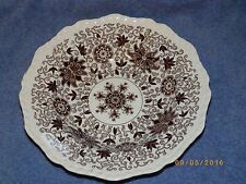 """Masons Brown Bow Bells Floral Scrolls Soup Bowl 9"""" discolored rim"""